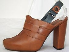 MARNI Brown Leather Clog Slingback Shoes 39 9 or 40 10