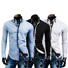 Fashion Slim Fit Tops Business Dress Mens T-shirt GIFT Casual Shirts Long Sleeve