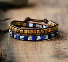 Boho gypsy unisex  mix natural stone beads knitted leather wrap bracelet charm