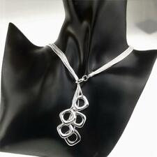 Silver Plated Alloy 5-layer Long Chains Necklace Oval/Square Tassel Pendant