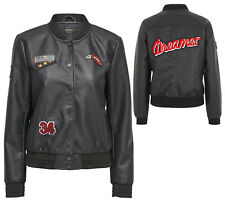 Women's Jacket Leather Jacket onlsandy Badge Faux Leather Bomber Black NEW