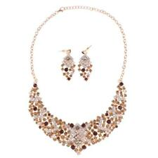 Rustic Bridal Jewelry Set Crystal Necklace Earring Wedding Party Accessory Kit