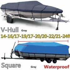 17-20Ft 600D Heavy Duty Waterproof Trailable Fish Ski Boat Cover V-Hull Beam 100