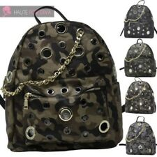 LADIES NEW FAUX LEATHER CAMOUFLAGE GROMMET CHAIN DETAIL BACKPACK RUCKSACK