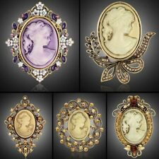 Elegant Beauty Face Shape Crystal Cameo Brooch Pin Bouquet Wedding Party Gift
