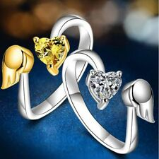 Adjustable Size Exquisite Opening Angel Wings Love Heart Ring Adjustable Ring
