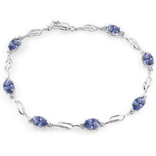 14K Solid White Gold 3.01 Carat Oval Natural Tanzanite Diamond Tennis Bracelet