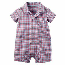 Carters Baby Boys Size 3 Mo NEW Red Plaid Short Sleeve Button-up Romper