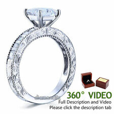 1.5 Ct Princess Lab Diamond Vintage Style Sterling 925 Silver Ring Engagement