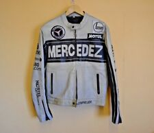 "Mens Vintage Mercedez Grey Real Leather Jacket Zipped Size Large 44"" Chest #A"