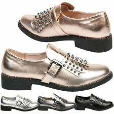 Dani Womens Flats Low Heels Studded Fringe Loafers Ladies Shoes Buckle Size New