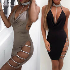 Ladies Sexy Stunning Backless Deep V Neck Halter Cocktail Club Party Mini Dress