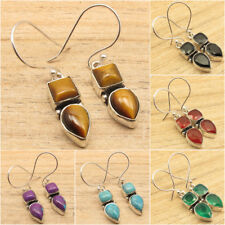 925 Silver Plated 2 Stone Vintage Style Earrings ! Engagement Jewelry