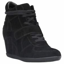 Ash Bowie Black Womens Suede Wedge Laced Ankle Hi-Top Trainer Boots
