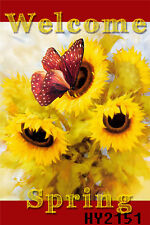 Spring Yellow Sunflowers Butterfly Garden Flag House Decor Yard Banner Flags NEW