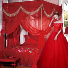 Red Luxury 4 Post Bed Curtain Canopy Mosquito Net Cal King Queen(No Bracket)