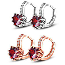 Fashion Women Zirconia Inlaid Love Heart Ear Cuff Ear Stud Earrings Jewelry Gift