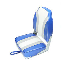 New Fishing/Hunting High Back Fold-Down Boat Seat, Color Blue/Grey/White