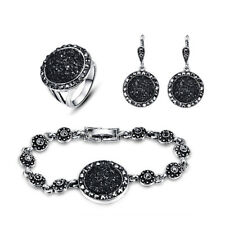 Women Lady Crystal Black Rhinestone Necklace Earrings Ring Wedding Jewelry Set