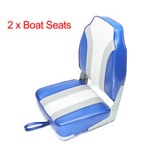 New Fishing/Hunting High Back Fold-Down Boat Seat, Color Blue/Grey/White,2 Seats