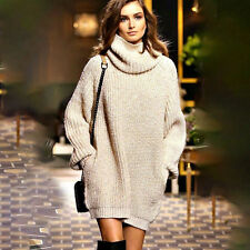 Women's Cowl Neck Pullover Sweater Mini Dress Jumper Long Loose Tops
