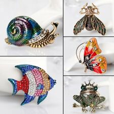 Vintage Crystal Animal Frog Butterfly Snail Bee Fish Brooch Pin Women Jewelry