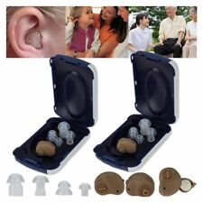 (2) Small In Ear Invisible Best Sound Amplifier Adjustable Tone Hearing Aids Aid