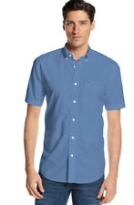 NWT Tommy Hilfiger Mens Short Sleeve Classic Fit Button-Down Shirt Mainsale Blue