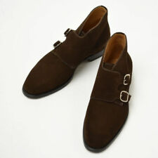 MENS HANDMADE DOUBLE MONK CHUKKA BOOTS MENS BROWN SUEDE LEATHER HUNTER SHOES