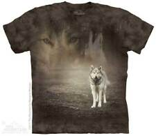The Mountain Grey Wolf Portrait Faded Forest Howling Animal Men T-Shirt 105892