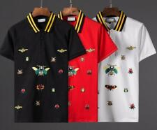 NEW Embroidery Insect Icon Black&Yellow Collar Polo Neck T-Shirts Graphic TEE