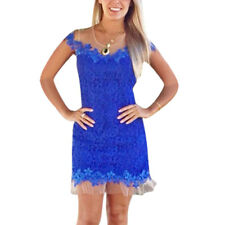 Ladies Semi Sheer Mesh Panel Round Neck Full Lined Lace Dress