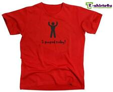 I POOPED TODAY! Funny Cool Party Humor Retro College Tee - T-Shirt - NEW - Red