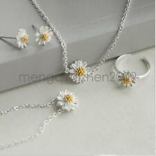 Lady Girls Daisy Necklace Earrings Ear studs Bracelet Ankle chain Jewelry sets
