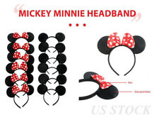 12/24Mickey&Minnie Mouse Ears Headband Bows Favors Party Supplies Costume Unisex