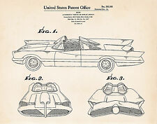 1966 Unique Batman Gifts For Him Her George Barris Batmobile Car Patent Drawings
