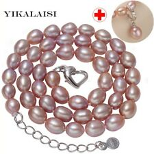 925 Sterling Silver Jewelry 8-9mm Pendant And Necklace Natural Freshwater Pearl