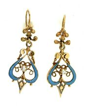 Antique Victorian 14K Gold Robins Egg Blue Enamel Seed Pearl Dangle EARRINGS