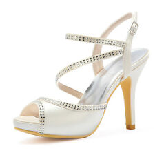 High Heel Platform Shoes Open Toe Rhinestone Buckle Satin Bridal Wedding Sandals