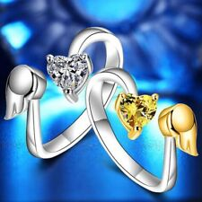 Opening Exquisite Fashion Jewelry Angel Wings Adjustable Ring Love Heart Ring
