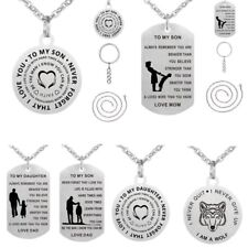 TO MY SON/Daughter Letters Stainless Steel Pendant Necklace Keychain Keyring Hot