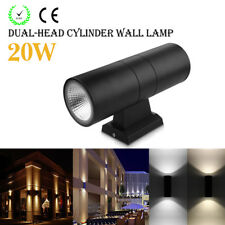 6W/10W/20W Up & Down Dual-Head LED Wall Mount Cylinder Light Sconce Lamp Outdoor