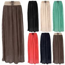 LADIES PLEATED CHIFFON MAXI SKIRT LINED WOMENS FLARED LONG FLOATY SUMMER LOOK