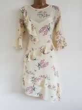 Ex M*ss Selfr*dge 8-16 Cream Floral Print Fluted Sleeve Ruffle Dress Wedding