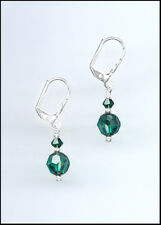 Casual Silver Earrings made with Swarovski EMERALD GREEN Crystals