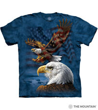 The Mountain Bald Eagle American Flag USA Patriotic Collage Blue Shirt 108207