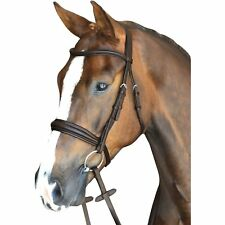 Collegiate Mono Crown Padded Raised Leather Cavesson Bridle with Rubber Reins