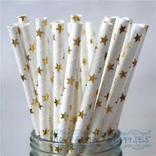 Star Gold Foil Paper Drinking Straws 300pcs Wedding Party Drink Stars Straw Food