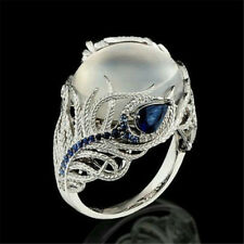 Women Jewelry Moonstone 925 Silver Feather Wedding Engagement Ring Gift Sz 6-10