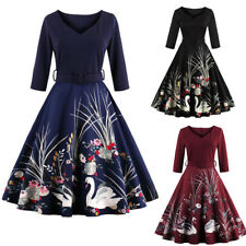 Plus Size Vintage Style Women Dress 50s Swing Party Pinup Flared Evening Dress